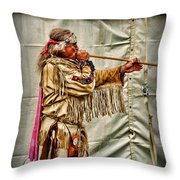 Native American With Blowgun Throw Pillow