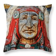 Native American Wood Carving Throw Pillow
