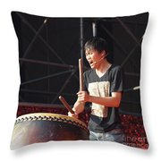 Native Drummer Performs In Taiwan Throw Pillow