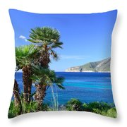 Native Fan Palms In Sant Elm Throw Pillow