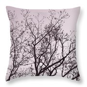 Native Texas Pecan Silhouette Throw Pillow