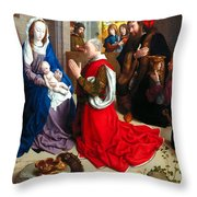 Nativity And Adoration Of The Magi Throw Pillow