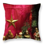 Nativity Scene In Red Throw Pillow