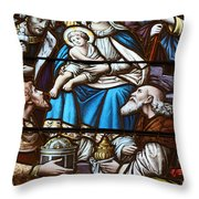 Nativity Stained Glass Throw Pillow