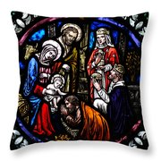 Nativity With Kings Throw Pillow