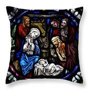 Nativity With Shepherds Throw Pillow