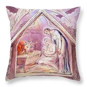 Nativity With Two Angels Throw Pillow
