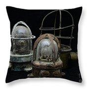 Natuical - Vintage Ship Deck Lights Throw Pillow