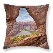Natural Arch And River Valley Canyon De Throw Pillow