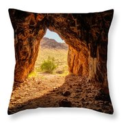 Natural Cave Above The Valley Of Fire Throw Pillow