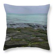 Natural Forming Pentagon Rock Formations Of Kumejima Okinawa Japan Throw Pillow