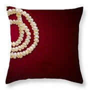 Natural Pearls Necklace Throw Pillow