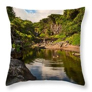 Natural Pool - The Beautiful Scene Of The Seven Sacred Pools Of Maui. Throw Pillow