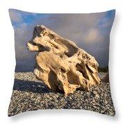 Naturally Sculpted Waterworn Wood On Pebble Beach Throw Pillow