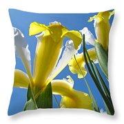 Nature Art Prints Yellow White Irises Flowers Throw Pillow