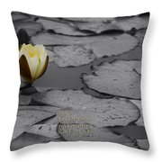 Nature Does Not Hurry Waterlily Throw Pillow