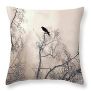 Nature Raven Crow Trees - Surreal Fantasy Gothic Nature Raven Crow In Trees Sepia Print Decor Throw Pillow