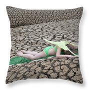 Nature Nymph Defeated Throw Pillow