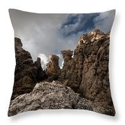 A Stunning Rock Wall Becomes A Wild Nature Sculpture In North Coast Of Minorca Europe Throw Pillow