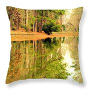 Nature's Green And Gold Throw Pillow