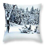 Natures Handywork - Snow Storm - Snow - Trees 2 Throw Pillow