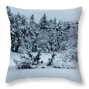 Natures Handywork - Snowstorm - Snow - Trees Throw Pillow
