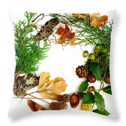 Nature's Natural Green Wreath Throw Pillow