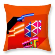 Natve American Red Throw Pillow by Charles Stuart