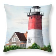 Nauset Beach Memories Watercolor Painting Throw Pillow by Michelle Wiarda