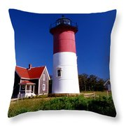 Nausett Lighthouse Throw Pillow