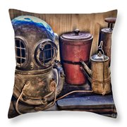 Nautical - Antique Dive Helmet Throw Pillow
