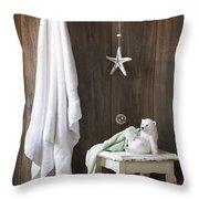 Nautical Bathroom Throw Pillow