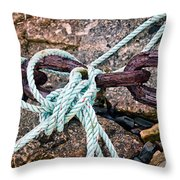 Nautical Lines And Rusty Chains Throw Pillow