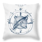 Nautical Observation Apparatus Patent From 1895  -  Blue Ink Throw Pillow
