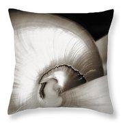 Nautilus Shell Sepia Throw Pillow