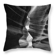 Antelope Canyon Black And White Throw Pillow