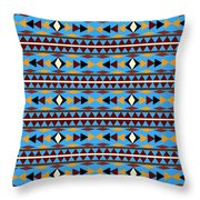 Navajo Blue Pattern Throw Pillow