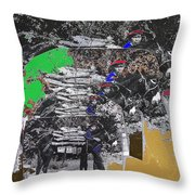 Navajo With His Donkey Bearing Wood Collage Inter-tribal Indian Rodeo Gallup Nm 1969-2012 Throw Pillow