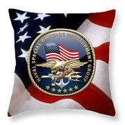 Naval Special Warfare Development Group - D E V G R U - Emblem Over U. S. Flag Throw Pillow