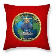 Naval Special Warfare Group Four - N S W G-4 - On Red Throw Pillow
