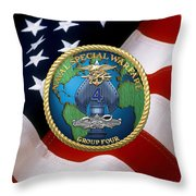 Naval Special Warfare Group Four - N S W G-4 - Over U. S. Flag Throw Pillow