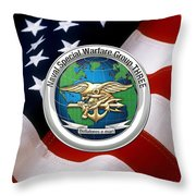 Naval Special Warfare Group Three - N S W G-3 - Over U. S. Flag Throw Pillow