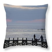 Navarre Beach Sunset Pier 10 Throw Pillow