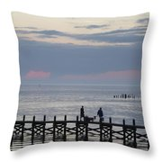 Navarre Beach Sunset Pier 11 Throw Pillow
