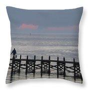 Navarre Beach Sunset Pier 14 Throw Pillow