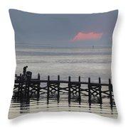 Navarre Beach Sunset Pier 16 Throw Pillow