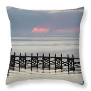 Navarre Beach Sunset Pier 17 Throw Pillow