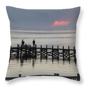 Navarre Beach Sunset Pier 18 Throw Pillow