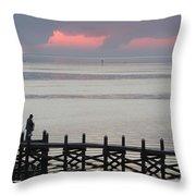 Navarre Beach Sunset Pier 20 Throw Pillow