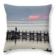 Navarre Beach Sunset Pier 21 Throw Pillow